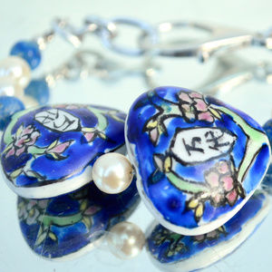 Lapis Lazuli Hand Painted Beads Bracelet Handmade